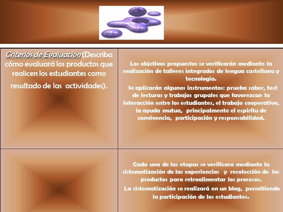 Criterios de Evaluación (Describa cómo evaluará los productos que realicen los estudiantes como resultado de las actividades).