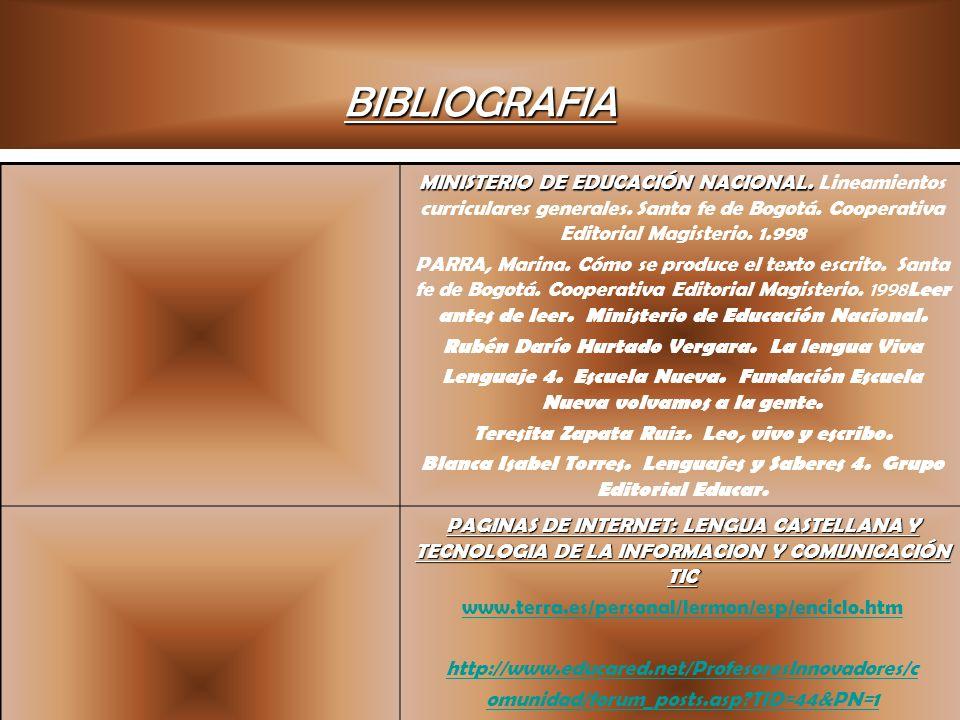 BIBLIOGRAFIA MINISTERIO DE EDUCACIÓN NACIONAL. Lineamientos curriculares generales. Santa fe de Bogotá. Cooperativa Editorial Magisterio. 1.998.