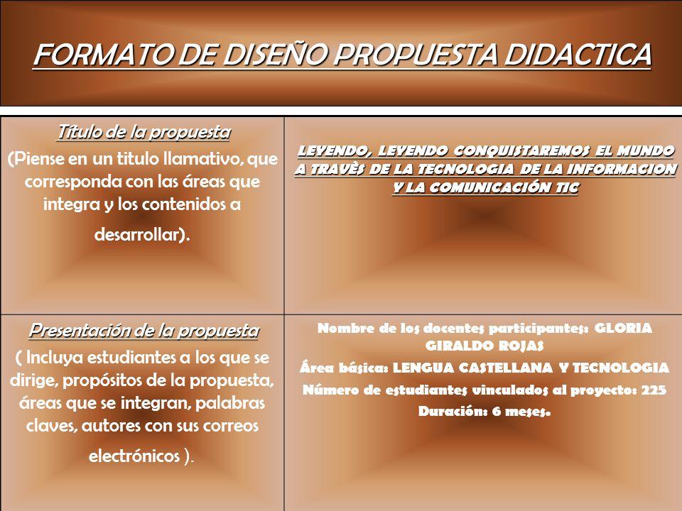 FORMATO DE DISEÑO PROPUESTA DIDACTICA
