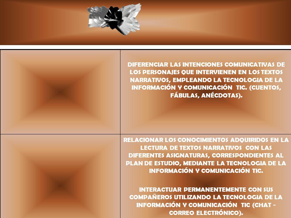 DIFERENCIAR LAS INTENCIONES COMUNICATIVAS DE LOS PERSONAJES QUE INTERVIENEN EN LOS TEXTOS NARRATIVOS, EMPLEANDO LA TECNOLOGIA DE LA INFORMACIÓN Y COMUNICACIÓN TIC. (CUENTOS, FÁBULAS, ANÉCDOTAS).