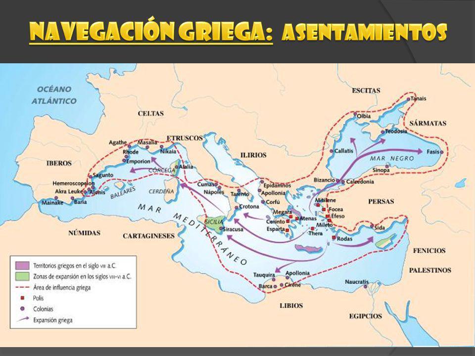 Navegación griega: aSENTAMIENTOS