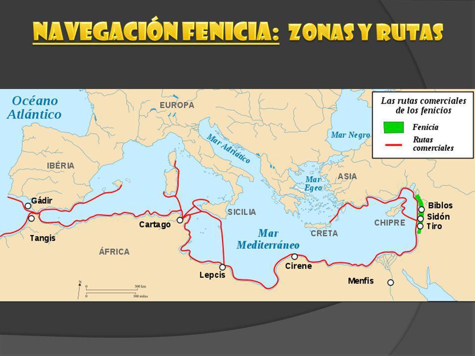 Navegación fenicia: zonas Y RUTAS