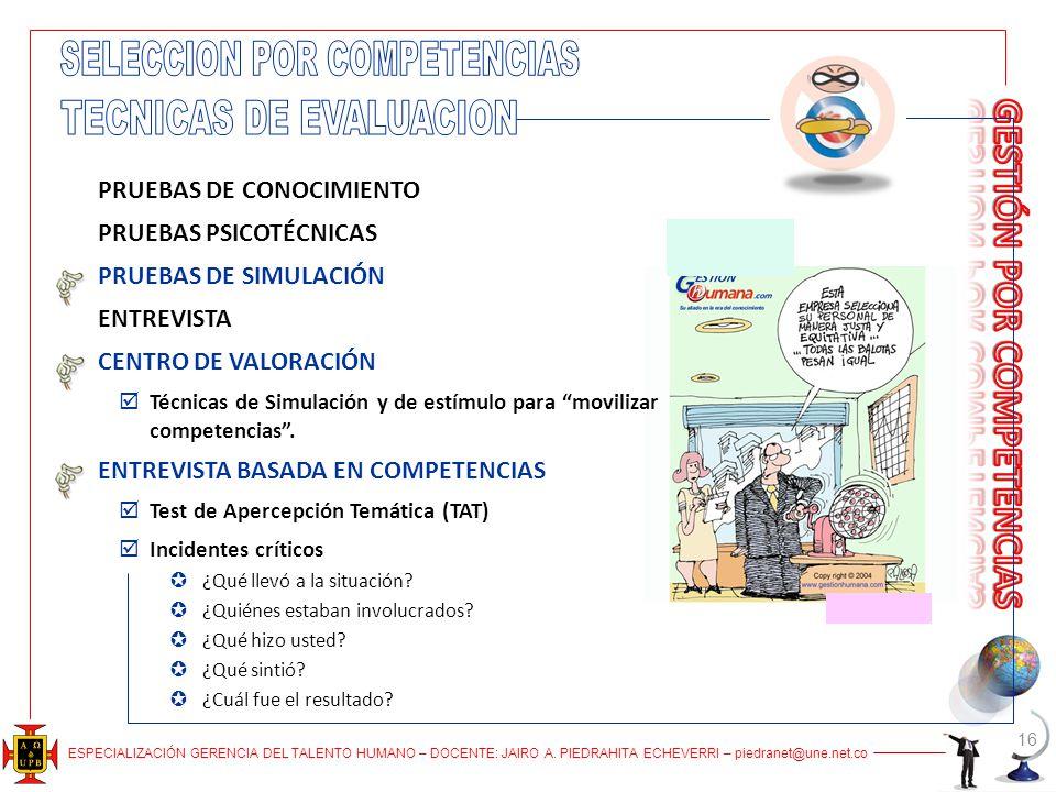 SELECCION POR COMPETENCIAS TECNICAS DE EVALUACION