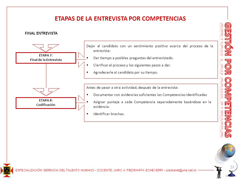 ETAPAS DE LA ENTREVISTA POR COMPETENCIAS