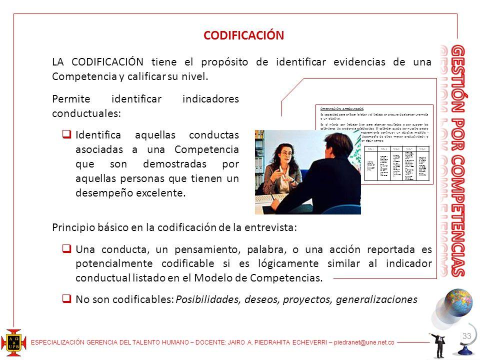 CODIFICACIÓN LA CODIFICACIÓN tiene el propósito de identificar evidencias de una Competencia y calificar su nivel.