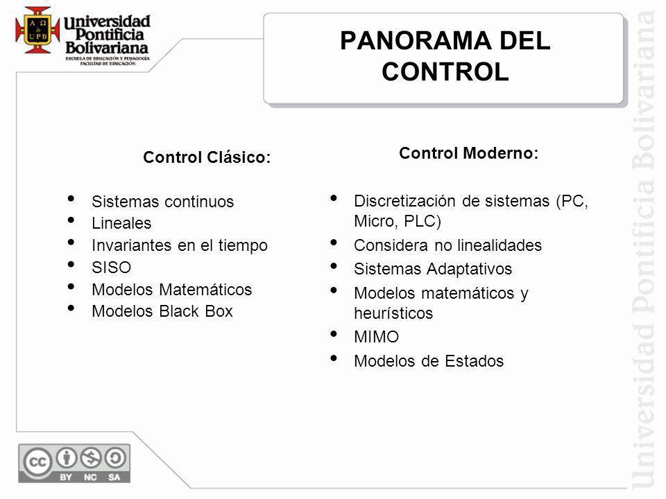 PANORAMA DEL CONTROL Control Moderno: Control Clásico: