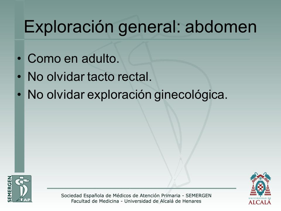 Exploración general: abdomen