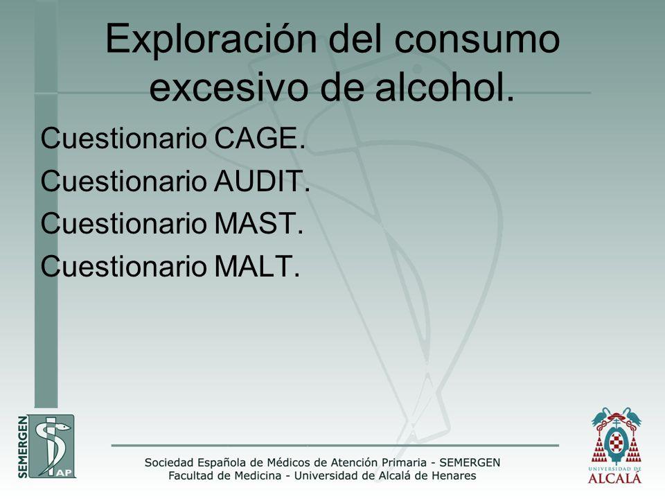 Exploración del consumo excesivo de alcohol.