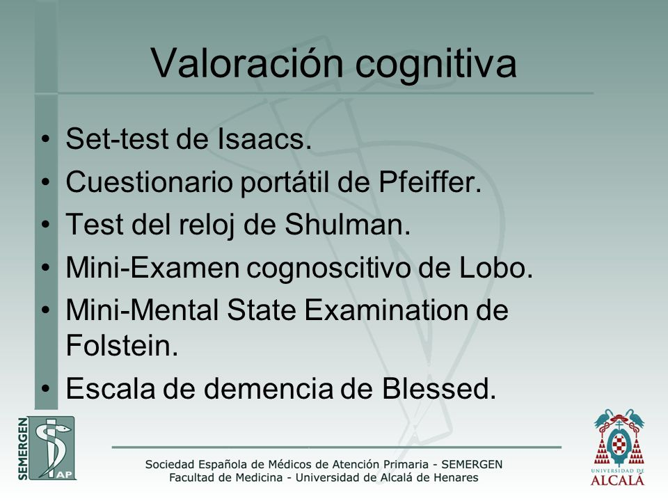 Valoración cognitiva Set-test de Isaacs.
