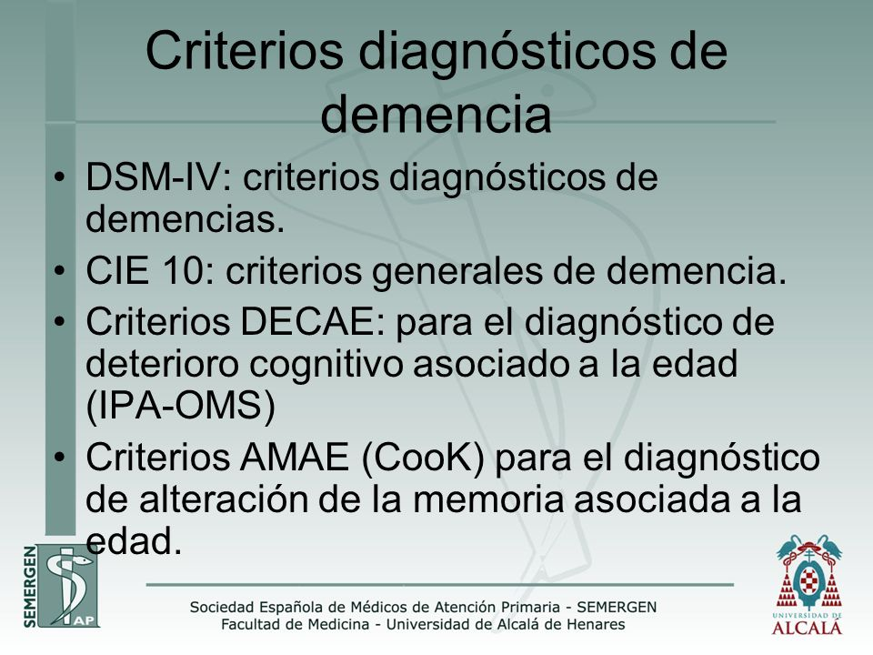 Criterios diagnósticos de demencia
