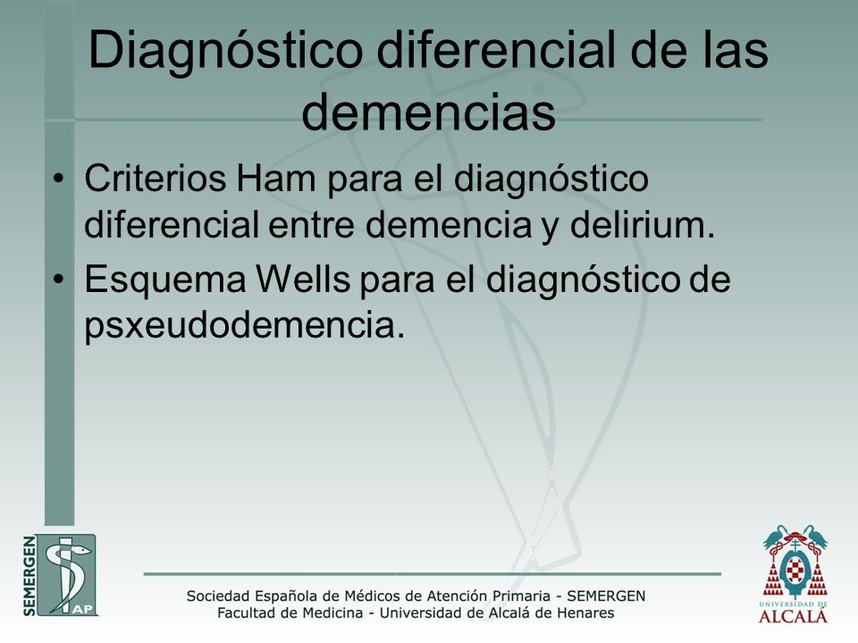 Diagnóstico diferencial de las demencias