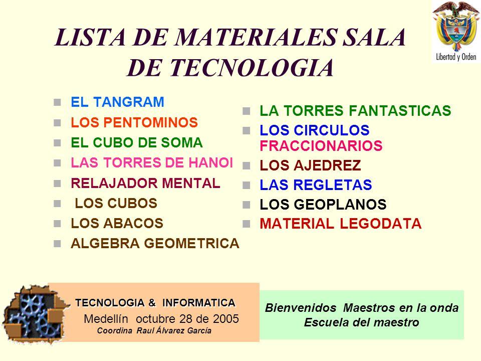 LISTA DE MATERIALES SALA DE TECNOLOGIA