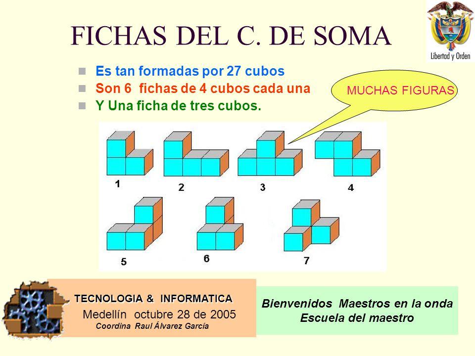 FICHAS DEL C. DE SOMA Es tan formadas por 27 cubos