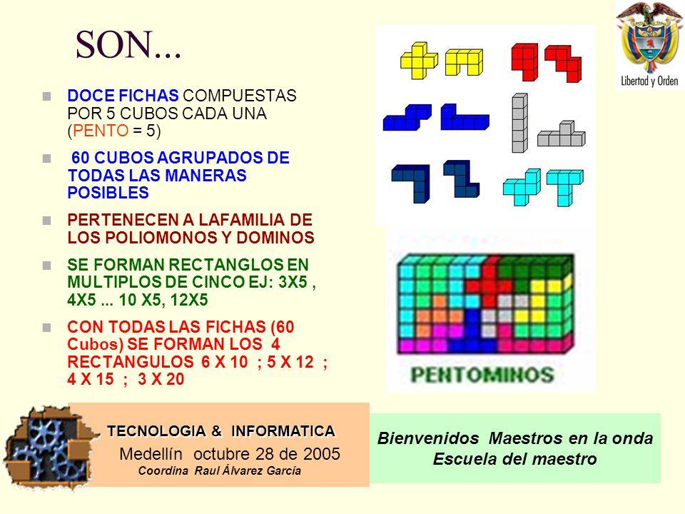 SON... DOCE FICHAS COMPUESTAS POR 5 CUBOS CADA UNA (PENTO = 5)