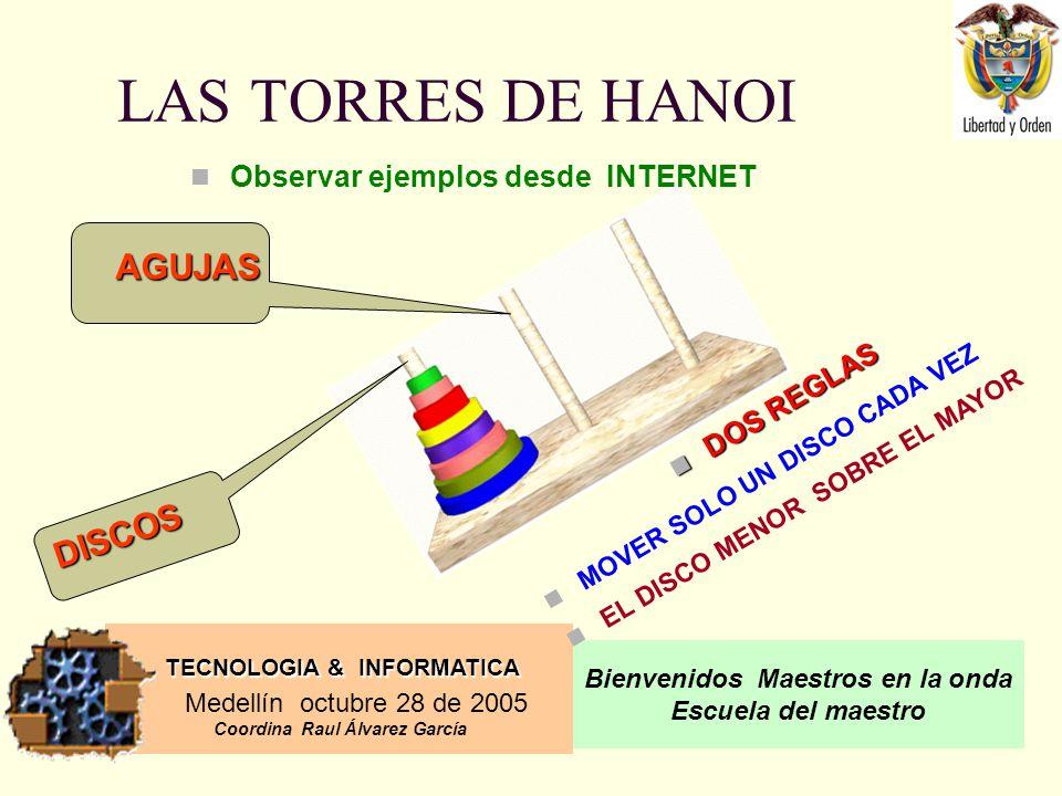 LAS TORRES DE HANOI AGUJAS DISCOS Observar ejemplos desde INTERNET
