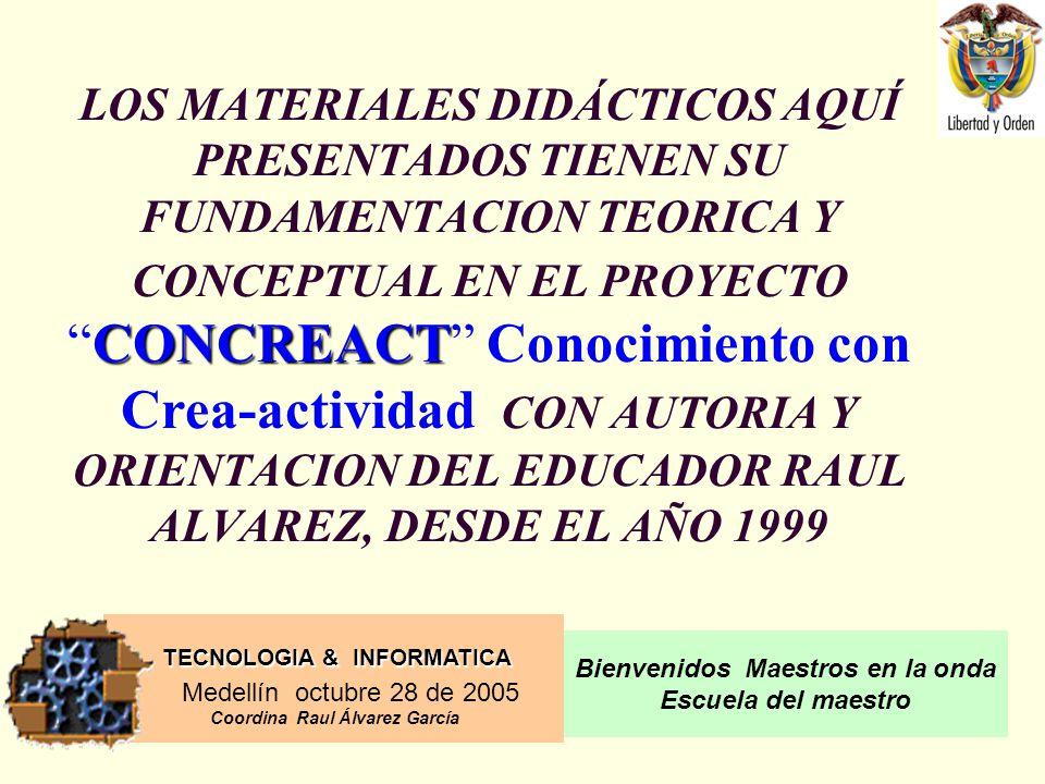 LOS MATERIALES DIDÁCTICOS AQUÍ PRESENTADOS TIENEN SU FUNDAMENTACION TEORICA Y CONCEPTUAL EN EL PROYECTO CONCREACT Conocimiento con Crea-actividad CON AUTORIA Y ORIENTACION DEL EDUCADOR RAUL ALVAREZ, DESDE EL AÑO 1999