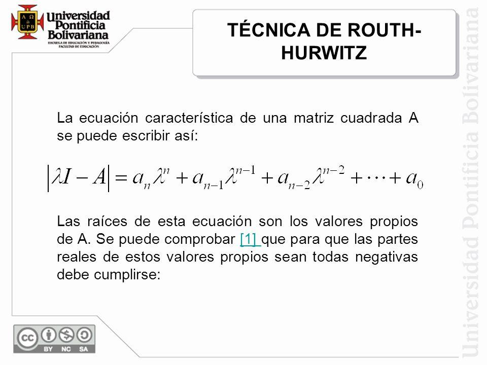 TÉCNICA DE ROUTH-HURWITZ
