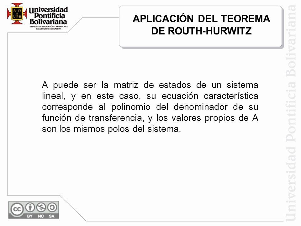 APLICACIÓN DEL TEOREMA DE ROUTH-HURWITZ