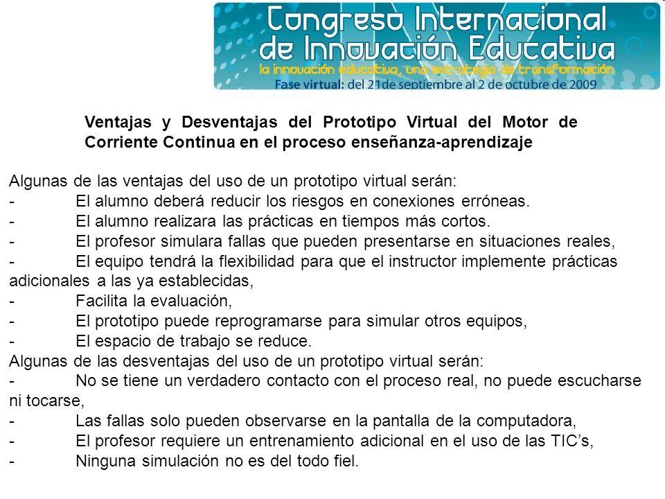 Ventajas y Desventajas del Prototipo Virtual del Motor de Corriente Continua en el proceso enseñanza-aprendizaje