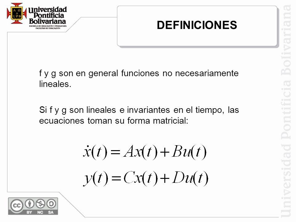 DEFINICIONES f y g son en general funciones no necesariamente lineales.