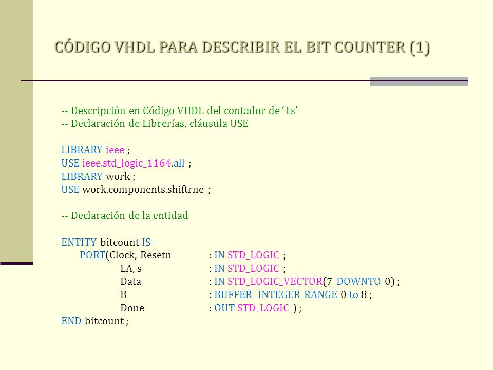 CÓDIGO VHDL PARA DESCRIBIR EL BIT COUNTER (1)