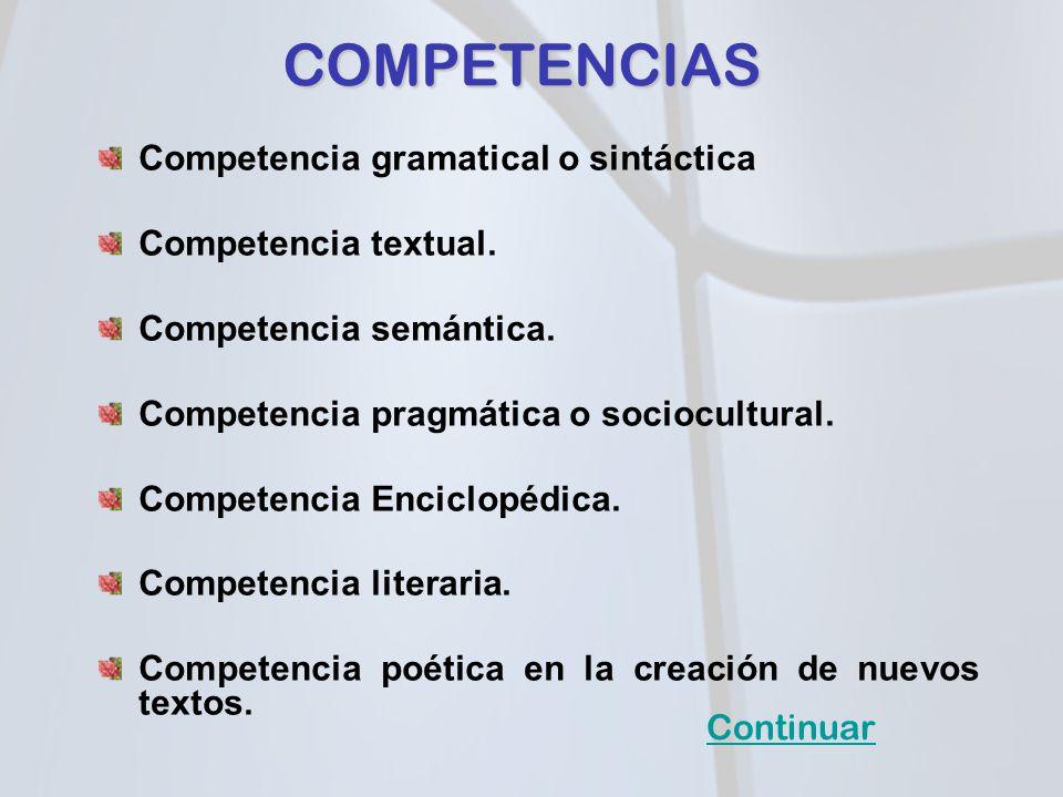 COMPETENCIAS Competencia gramatical o sintáctica Competencia textual.