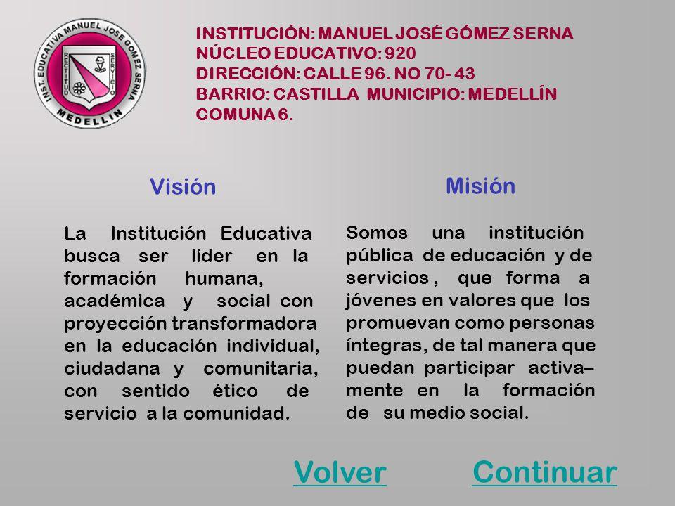 Volver Continuar Visión Misión La Institución Educativa