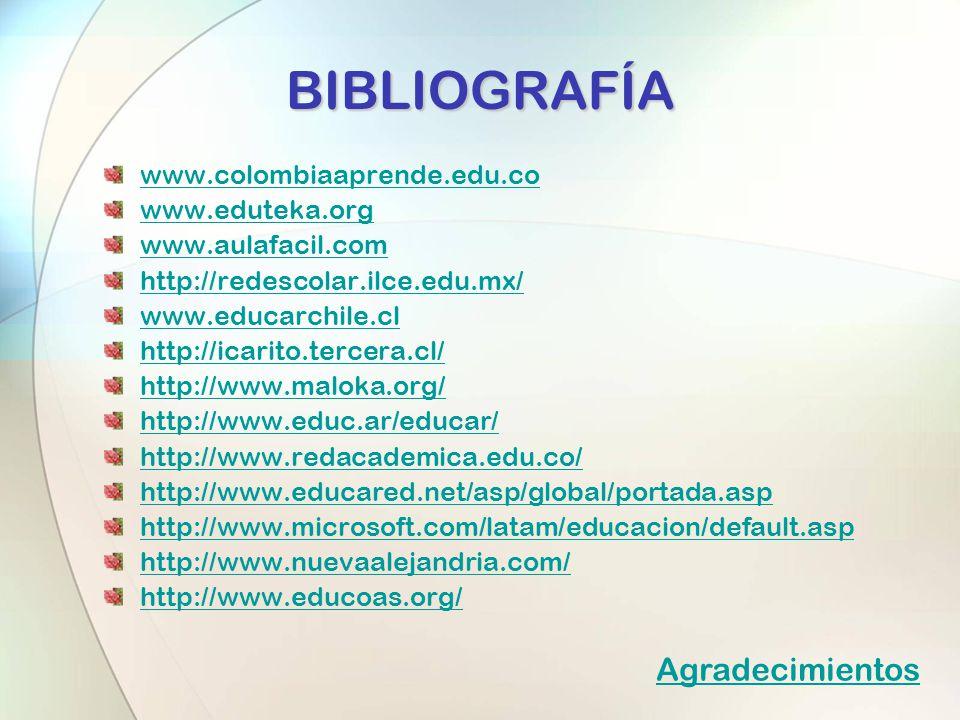 BIBLIOGRAFÍA Agradecimientos www.colombiaaprende.edu.co