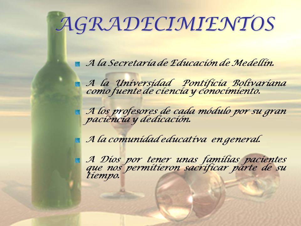 AGRADECIMIENTOS A la Secretaría de Educación de Medellín.