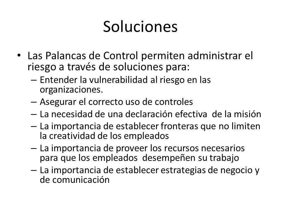 SolucionesLas Palancas de Control permiten administrar el riesgo a través de soluciones para: