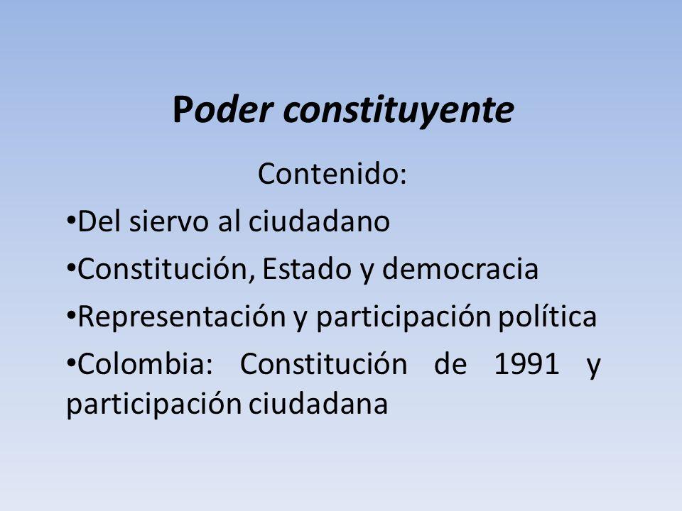 Poder constituyente Contenido: Del siervo al ciudadano