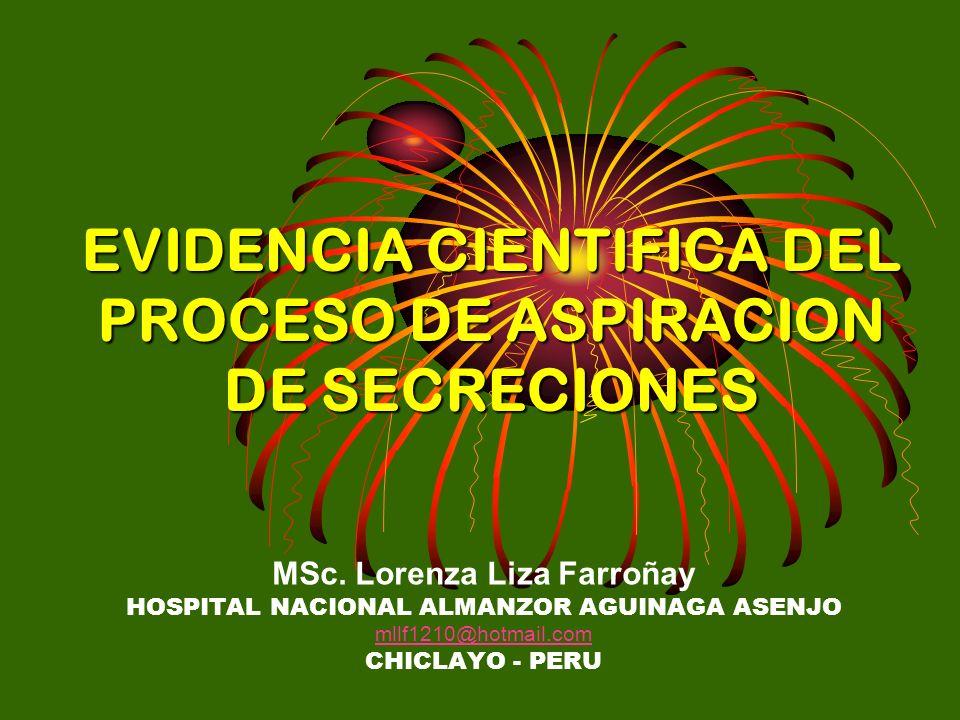 EVIDENCIA CIENTIFICA DEL PROCESO DE ASPIRACION DE SECRECIONES