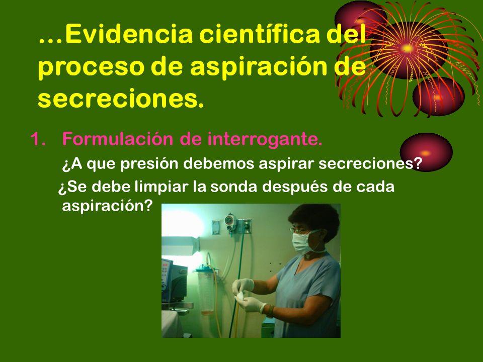…Evidencia científica del proceso de aspiración de secreciones.