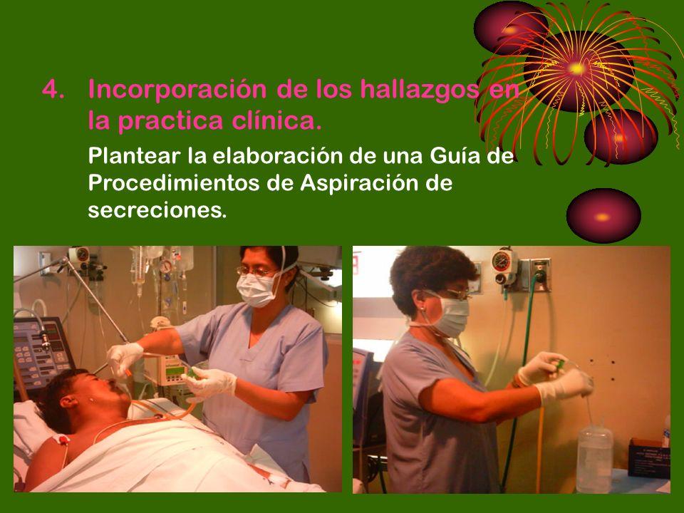Incorporación de los hallazgos en la practica clínica.