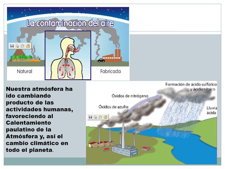 Nuestra atmósfera ha ido cambiando producto de las actividades humanas, favoreciendo al Calentamiento paulatino de la Atmósfera y, asi el cambio climático en todo el planeta.