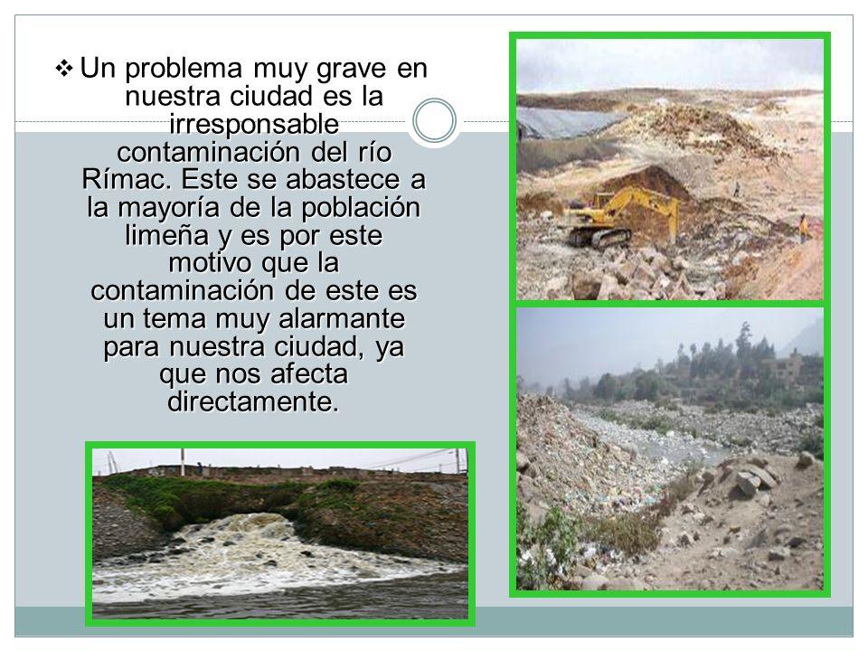 Un problema muy grave en nuestra ciudad es la irresponsable contaminación del río Rímac.