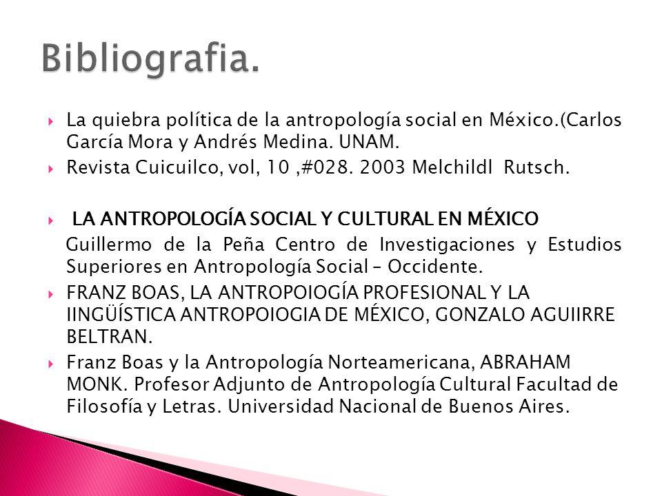 Bibliografia. La quiebra política de la antropología social en México.(Carlos García Mora y Andrés Medina. UNAM.