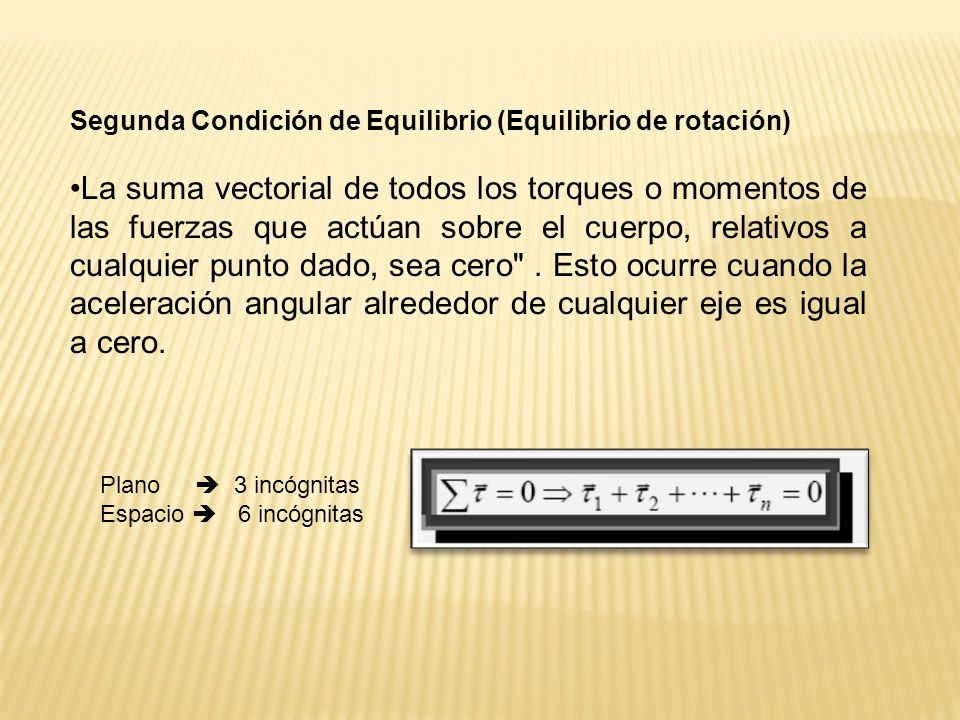 Segunda Condición de Equilibrio (Equilibrio de rotación)