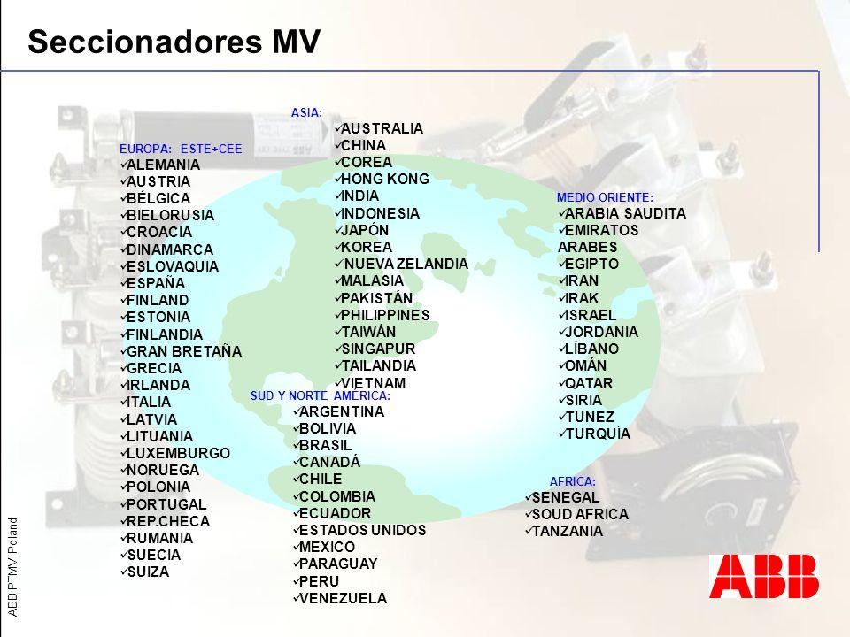 Seccionadores MV AUSTRALIA CHINA COREA HONG KONG INDIA INDONESIA JAPÓN