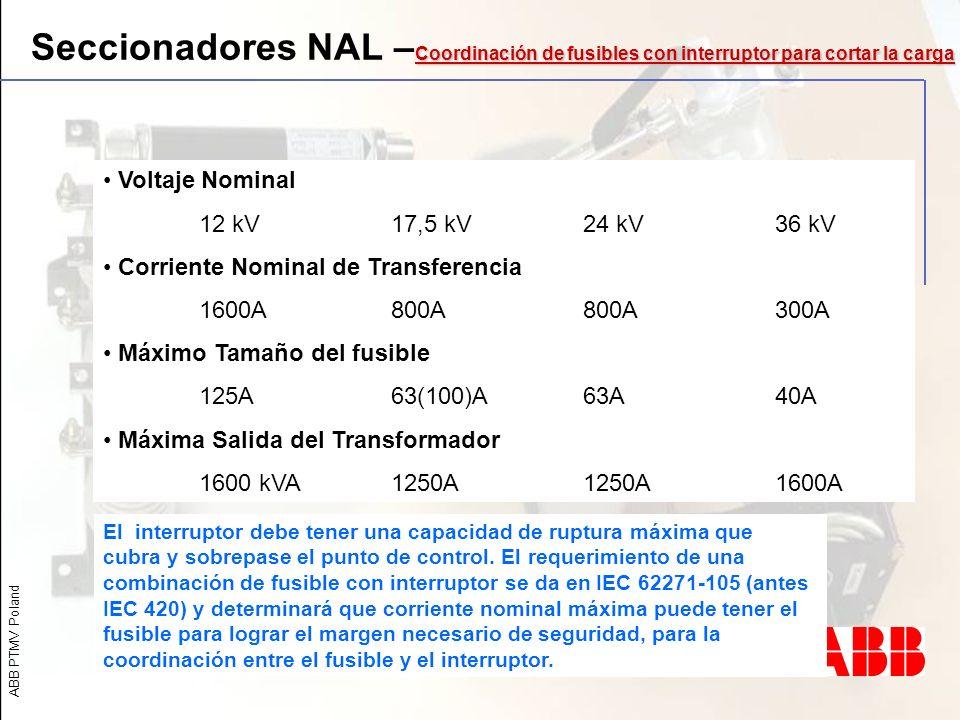 Seccionadores NAL –Coordinación de fusibles con interruptor para cortar la carga