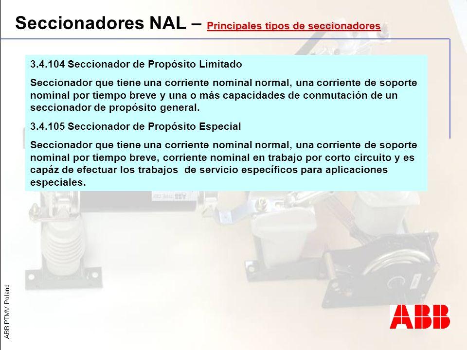 Seccionadores NAL – Principales tipos de seccionadores