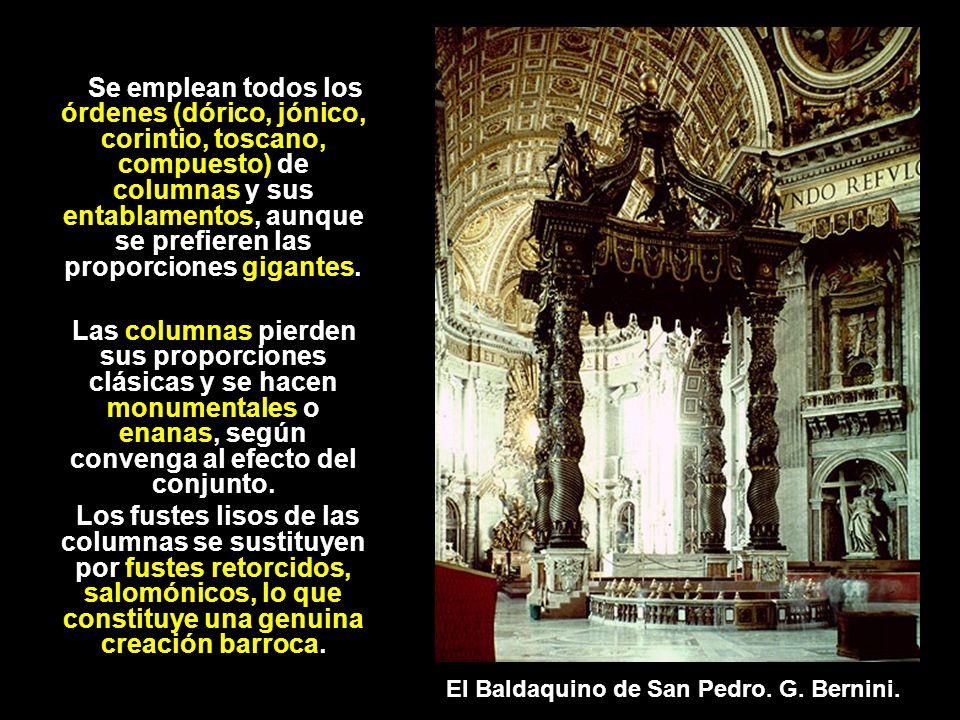 Se emplean todos los órdenes (dórico, jónico, corintio, toscano, compuesto) de columnas y sus entablamentos, aunque se prefieren las proporciones gigantes.
