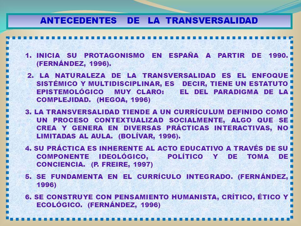 ANTECEDENTES DE LA TRANSVERSALIDAD