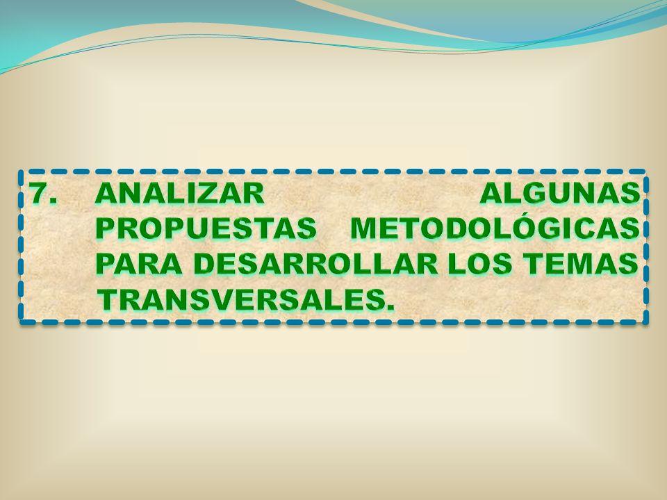 ANALIZAR ALGUNAS PROPUESTAS METODOLÓGICAS PARA DESARROLLAR LOS TEMAS