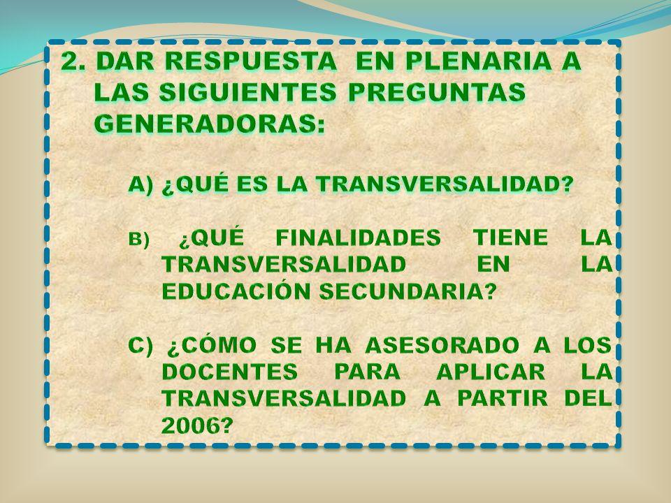 2. DAR RESPUESTA EN PLENARIA A LAS SIGUIENTES PREGUNTAS GENERADORAS: