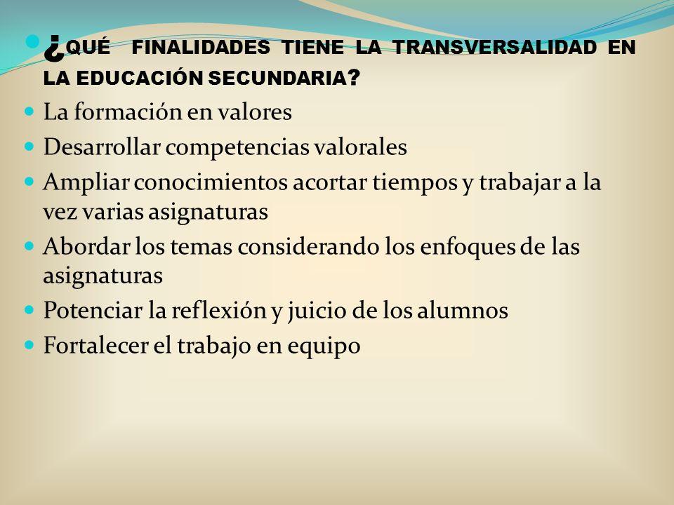 ¿QUÉ FINALIDADES TIENE LA TRANSVERSALIDAD EN LA EDUCACIÓN SECUNDARIA