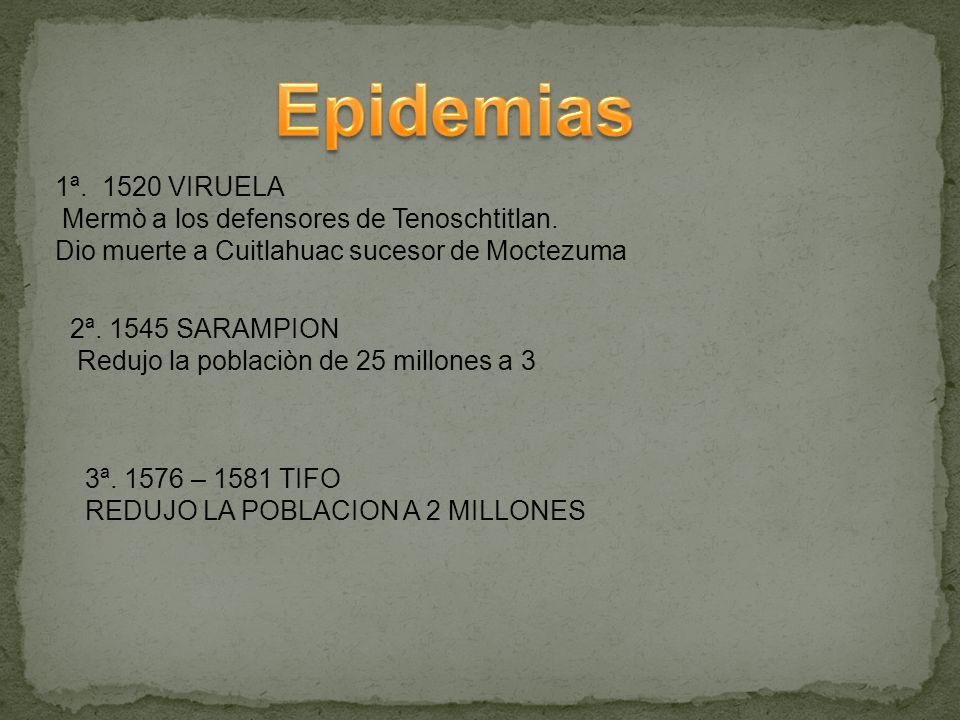 Epidemias 1ª. 1520 VIRUELA Mermò a los defensores de Tenoschtitlan.