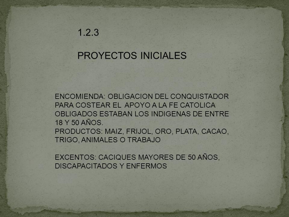 1.2.3 PROYECTOS INICIALES ENCOMIENDA: OBLIGACION DEL CONQUISTADOR
