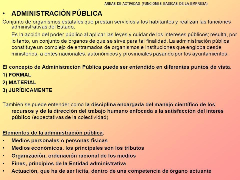 AREAS DE ACTIVIDAD (FUNCIONES BASICAS DE LA EMPRESA)