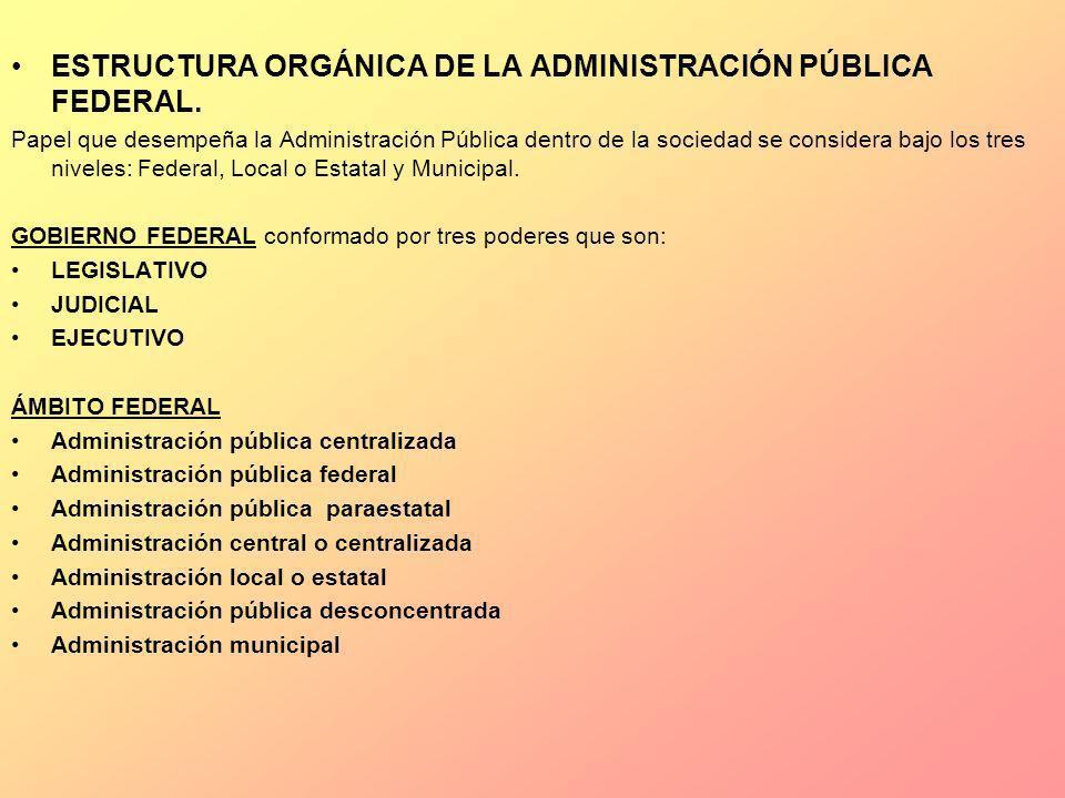 ESTRUCTURA ORGÁNICA DE LA ADMINISTRACIÓN PÚBLICA FEDERAL.